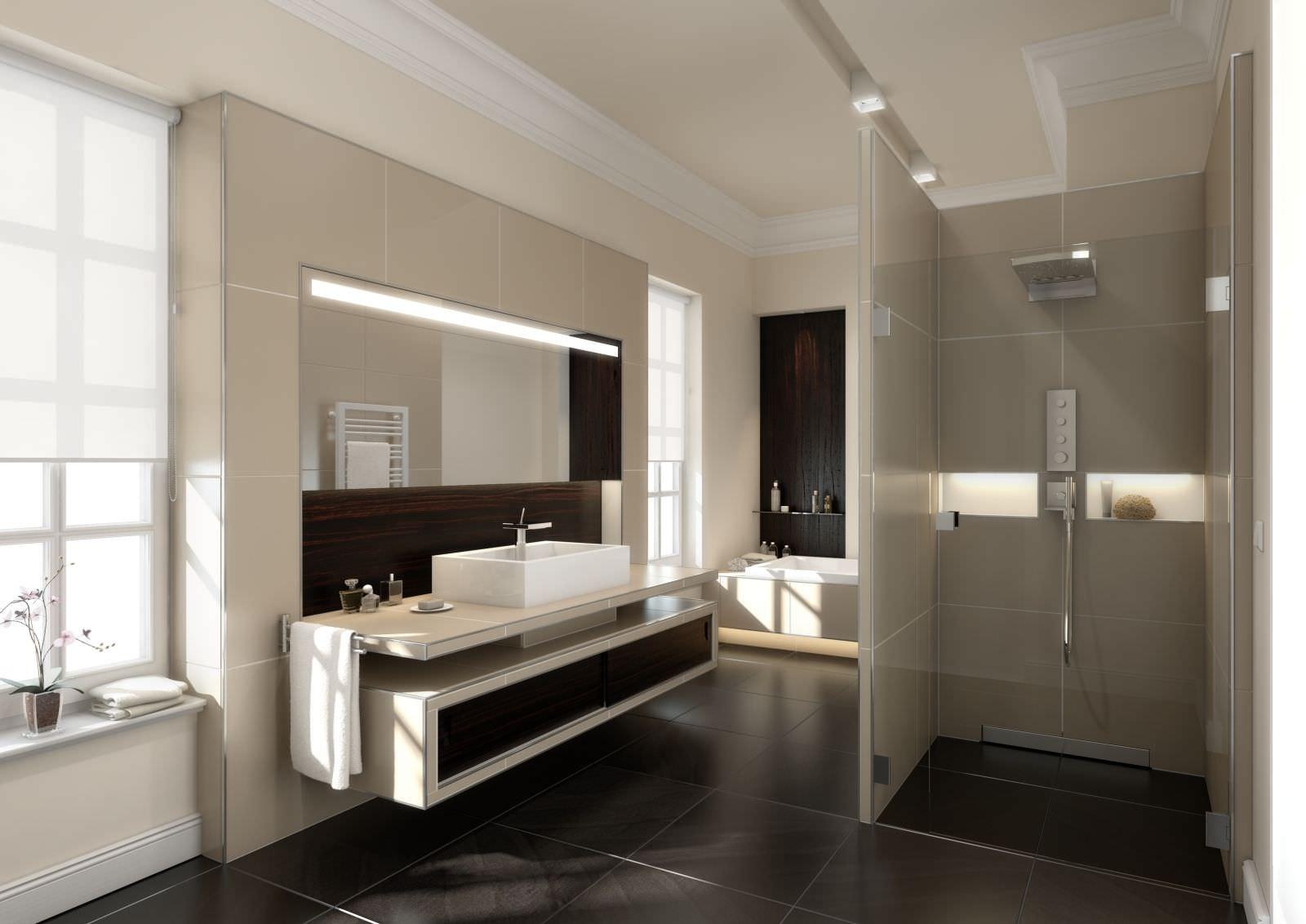 Душ без поддона в черно-бежевой ванной