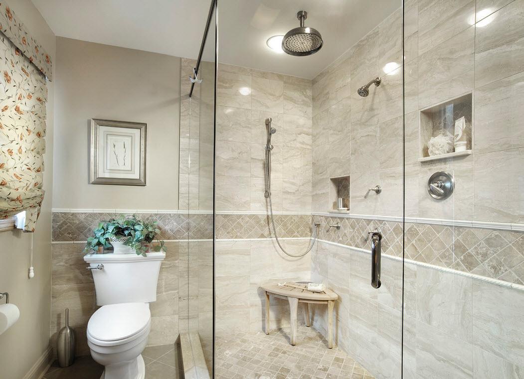 Душ без поддона в уютной ванной