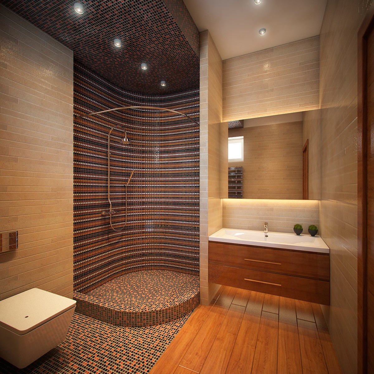 Душ без поддона с мозаикой в ванной
