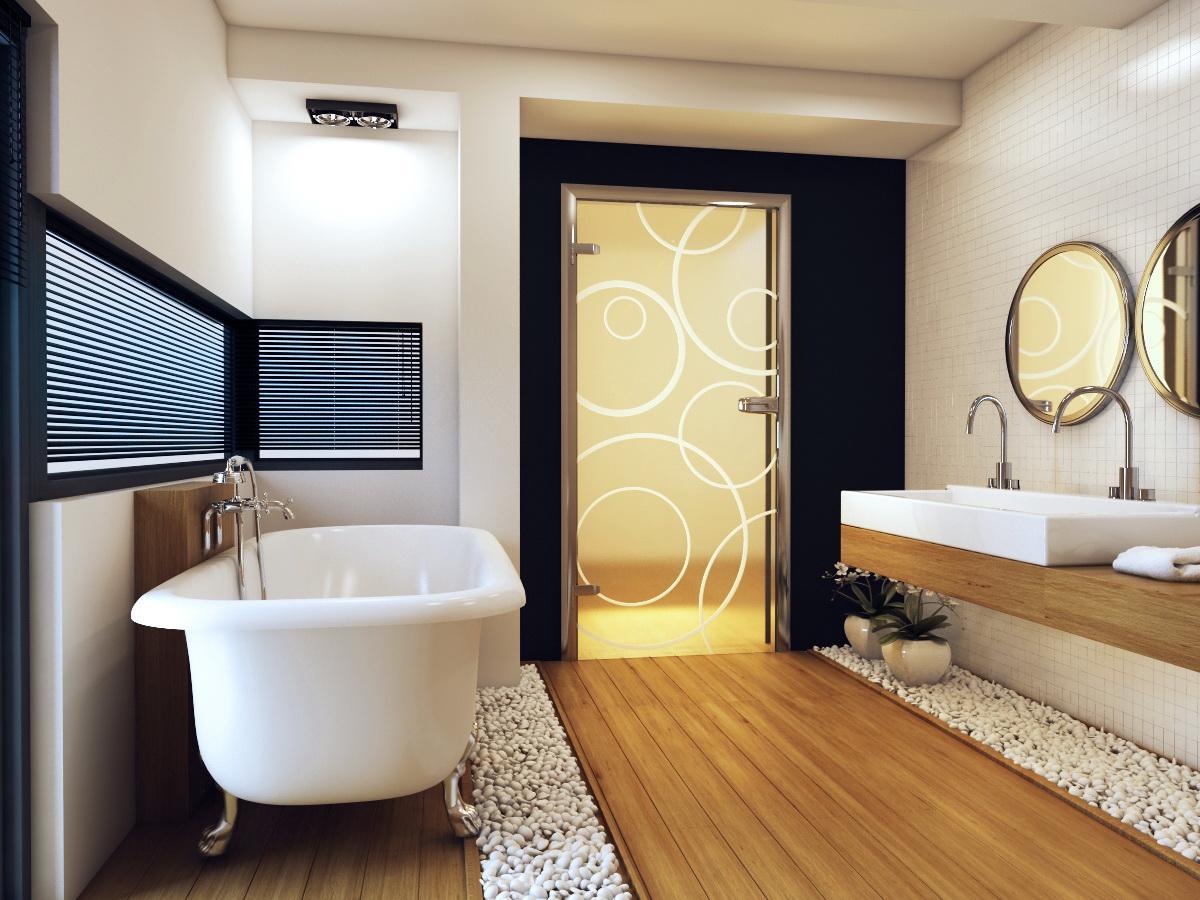 Стеклянная дверь с узором в ванную
