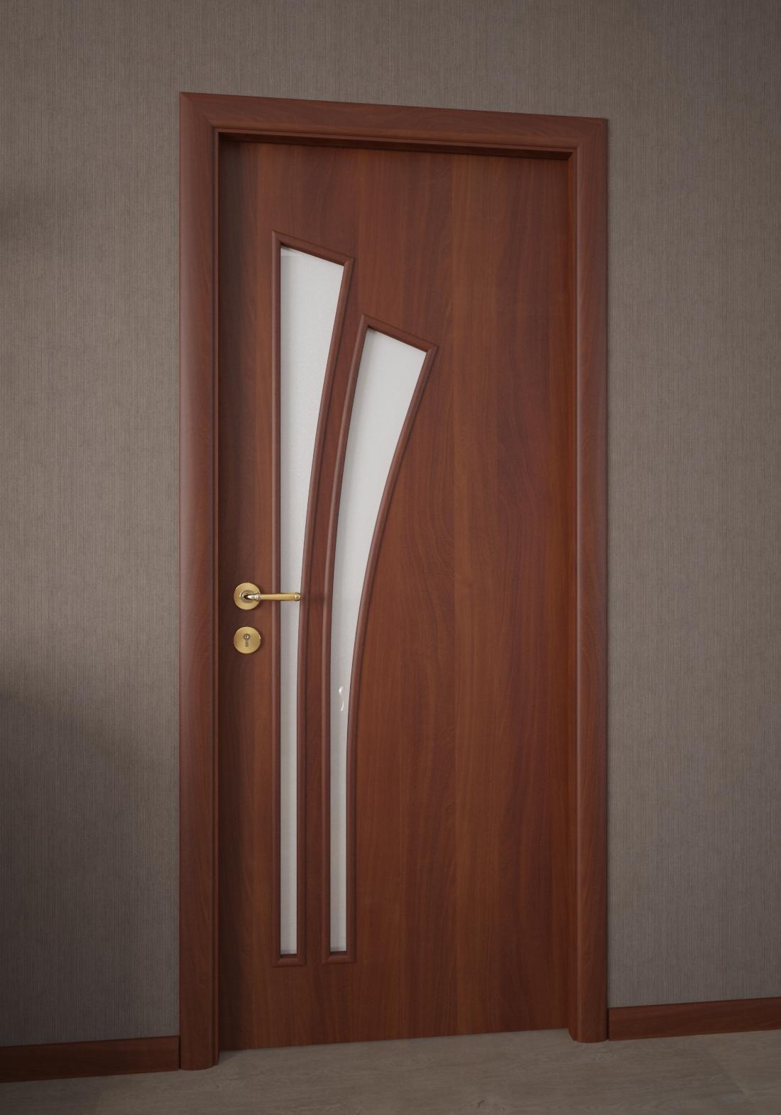Ламинированная коричневая дверь со стеклом в ванную