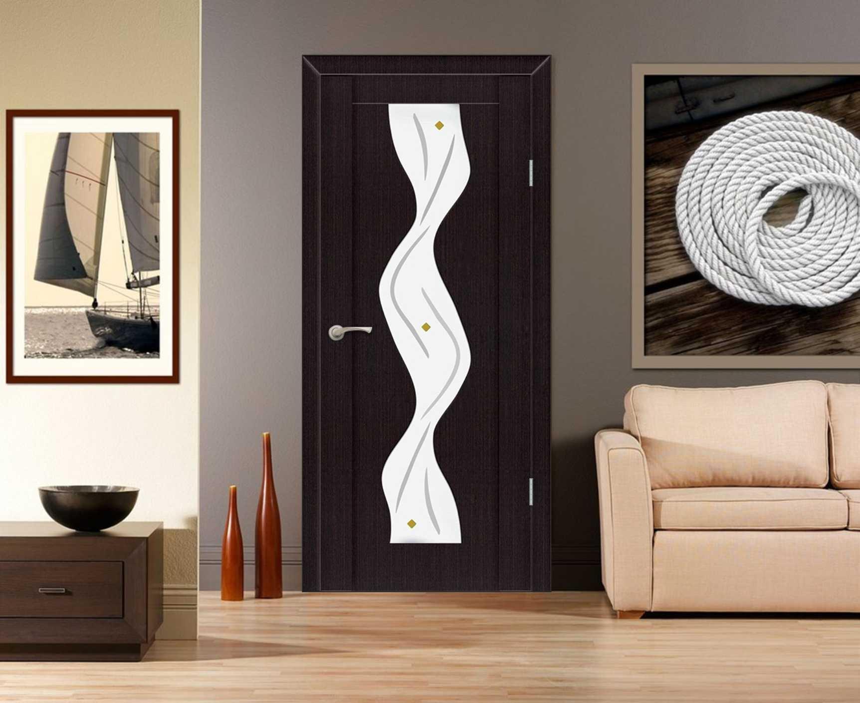 Черная дверь с ПВХ покрытием и стеклом в ванную