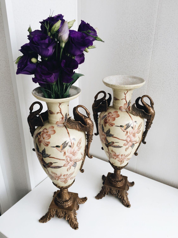 Красивые фарфоровые вазы для цветов