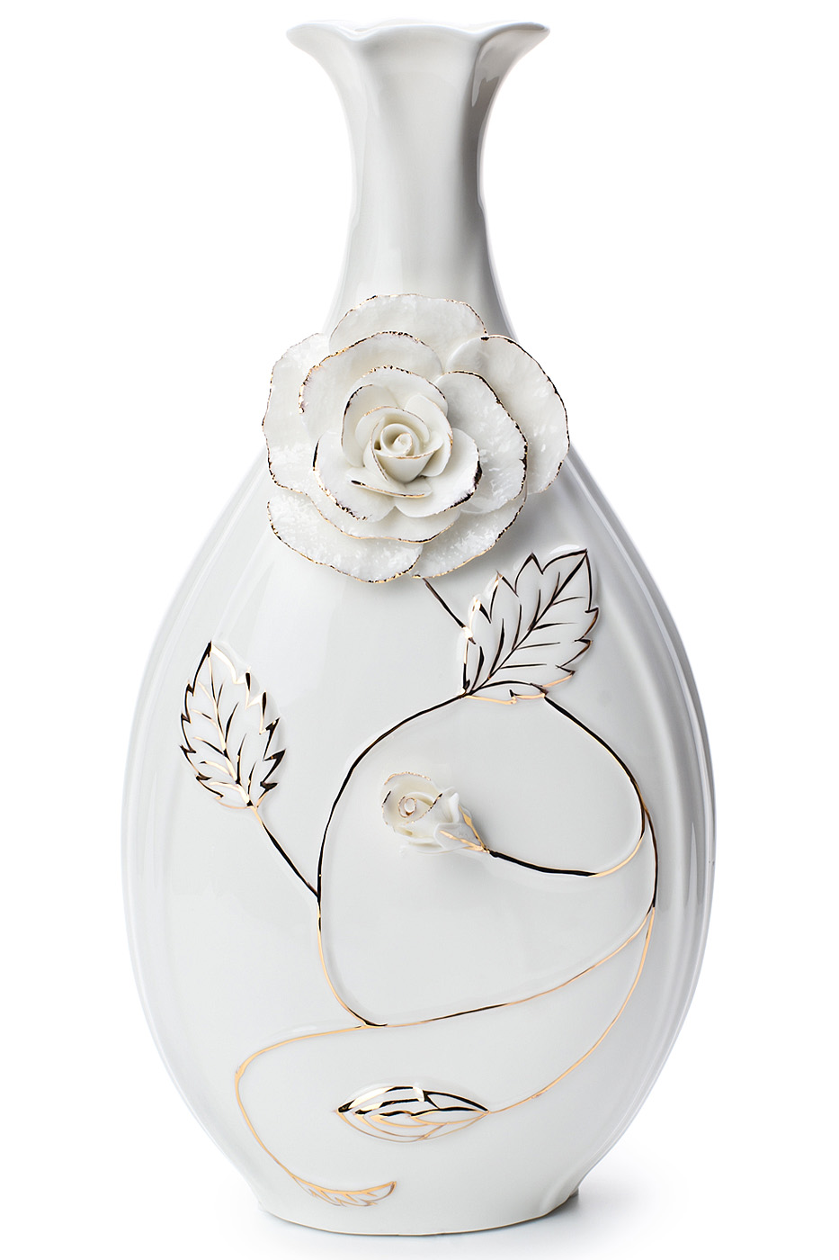 Белая фарфоровая ваза с цветком