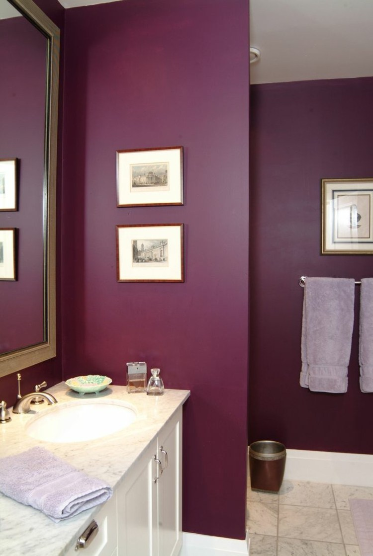 Покраска стен в ванной в фиолетовый цвет