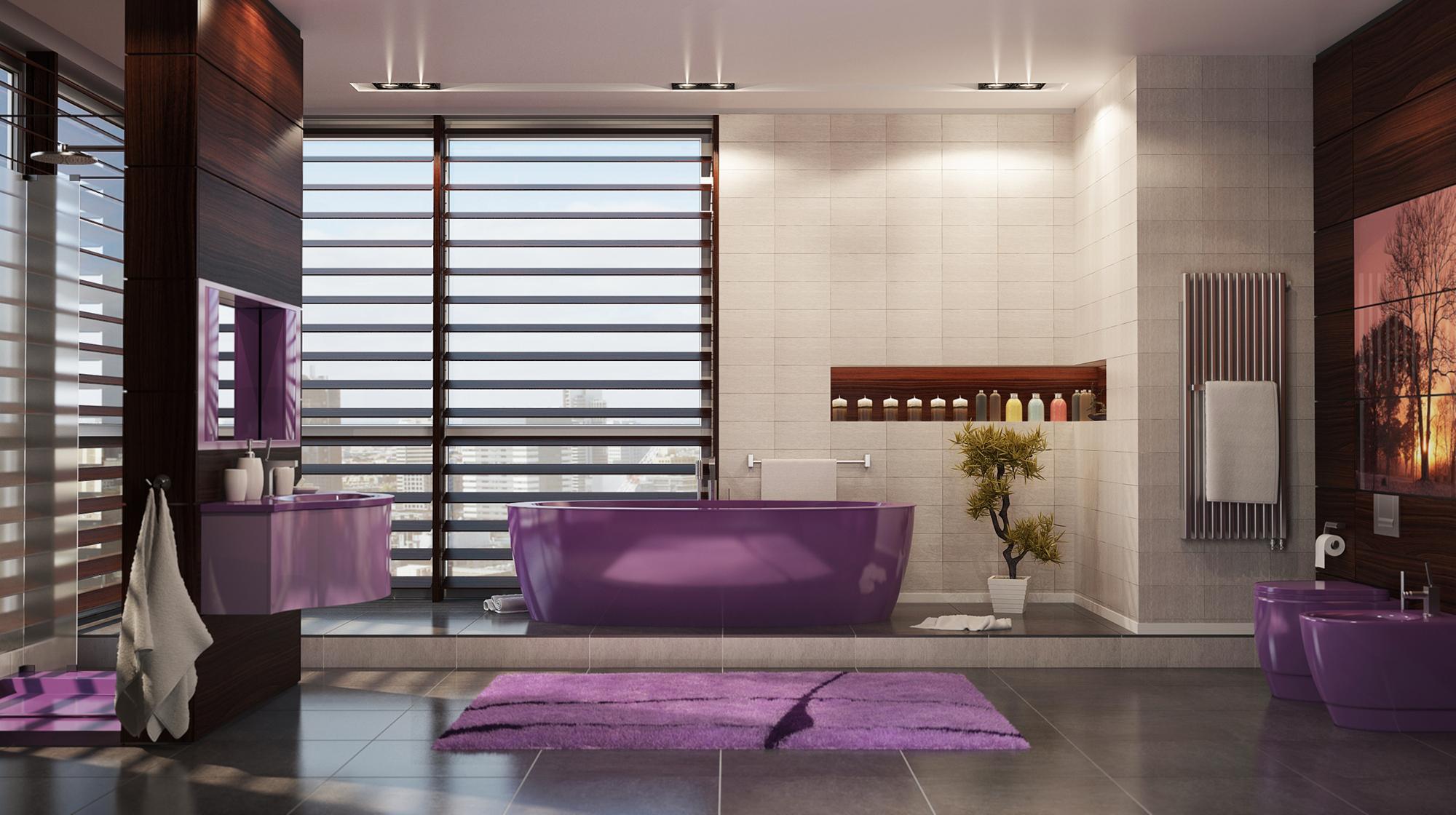 Фиолетовые акценты в ванной комнате