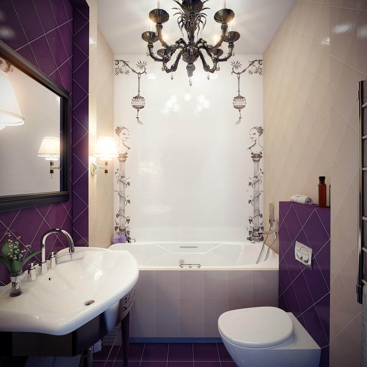 Ванная с фиолетовыми акцентами в стиле арт-деко