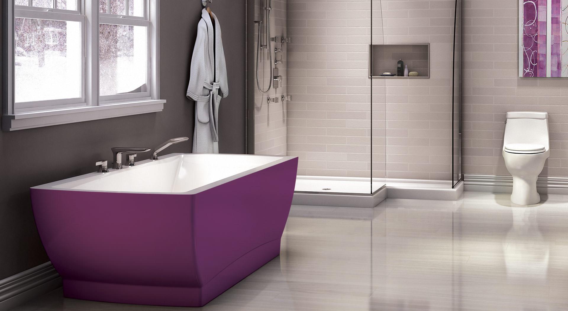 Японский минималистичный стиль в ванной с фиолетовым акцентом