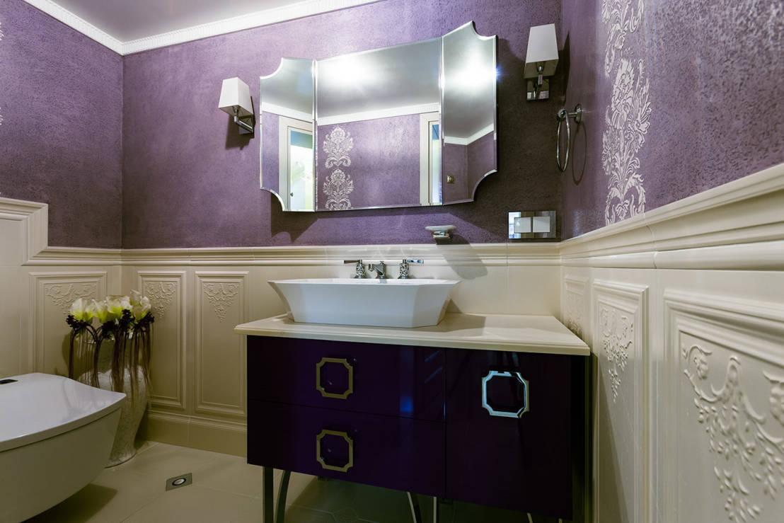 Фиолетово-бежевая ванная в классическом стиле