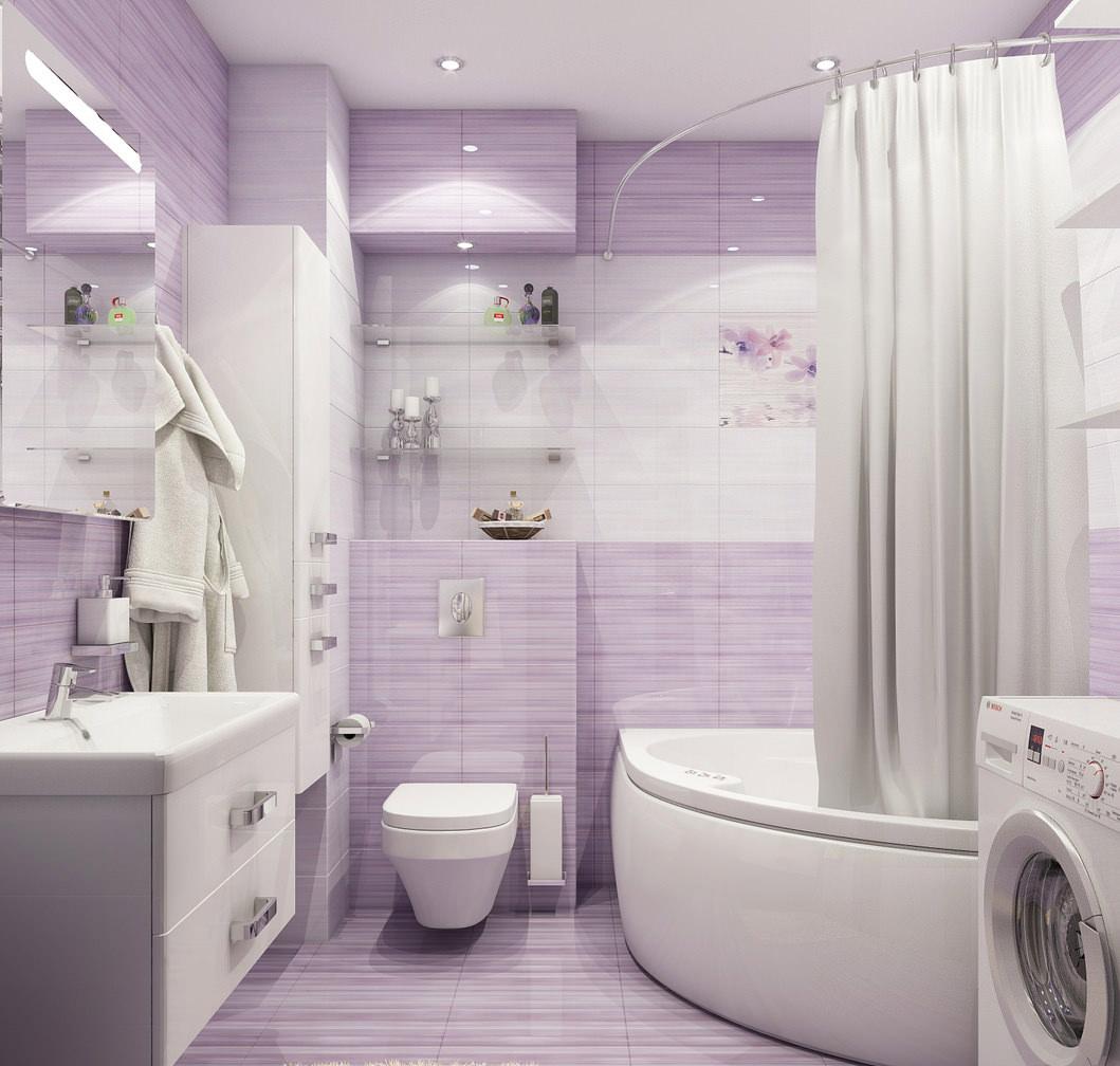 Светло-фиолетовый и белый цвета в дизайне ванной