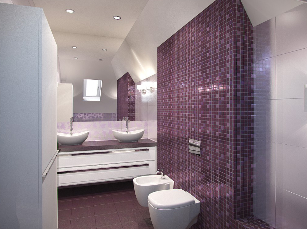 Фиолетовая мозаика в ванной комнате