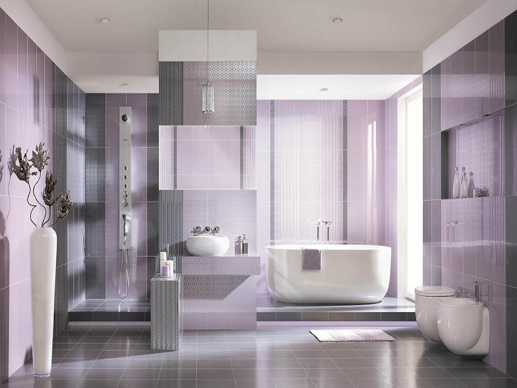 Светло-фиолетовый и серый цвета в ванной