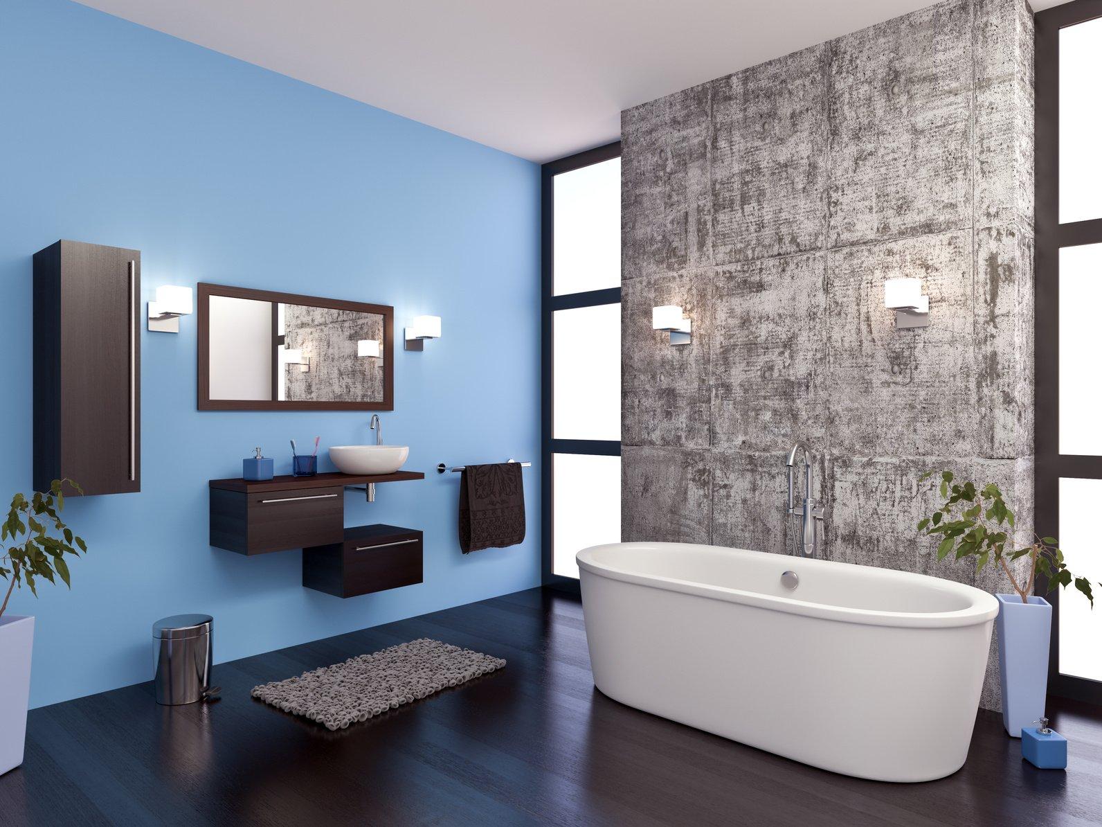 Покраска стен в ванной в голубой цвет