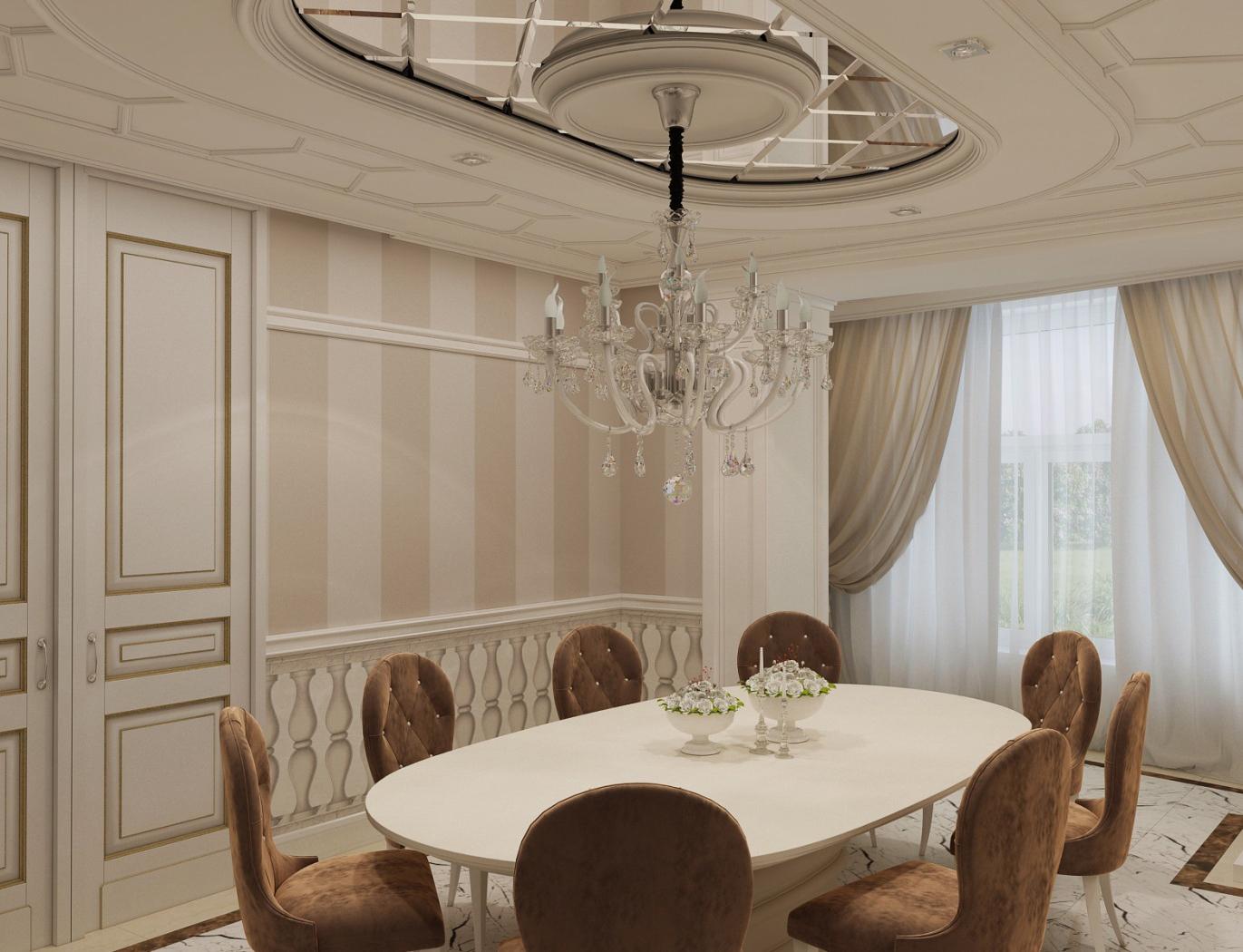 Подвесной потолок из гипсокартона в классической гостиной-столовой