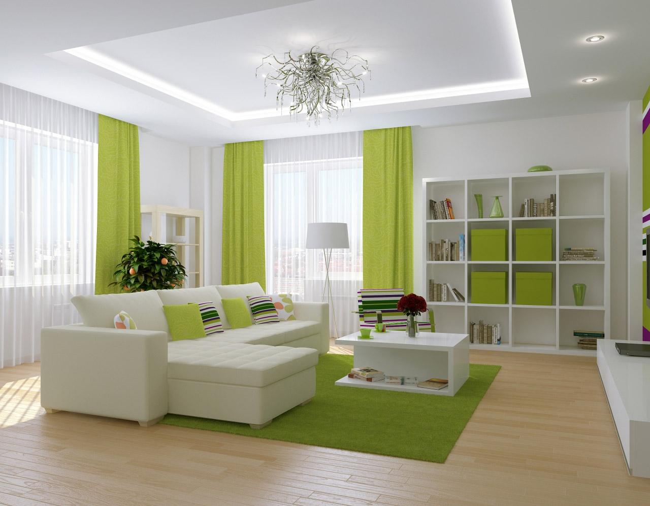 Белый потолок из гипсокартона с подсветкой в бело-зеленой гостиной