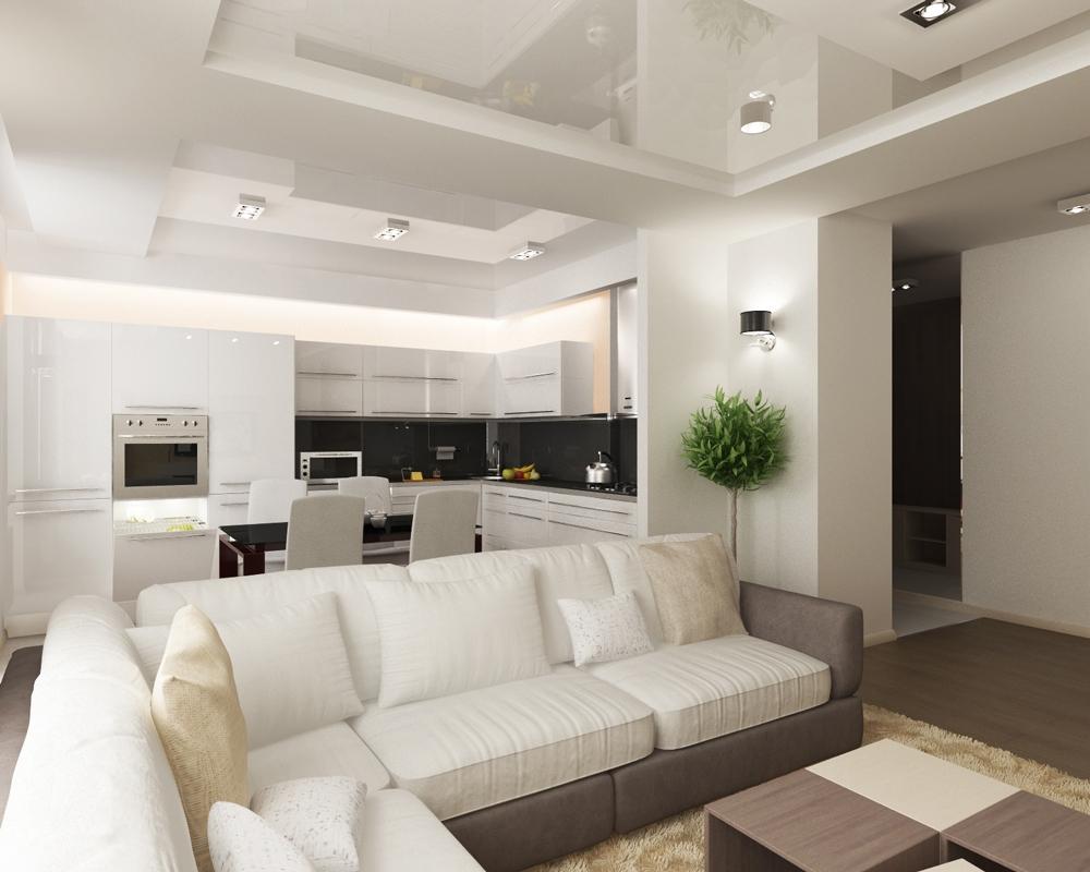Белый матово-глянцевый потолок из гипсокартона в гостиной-кухне