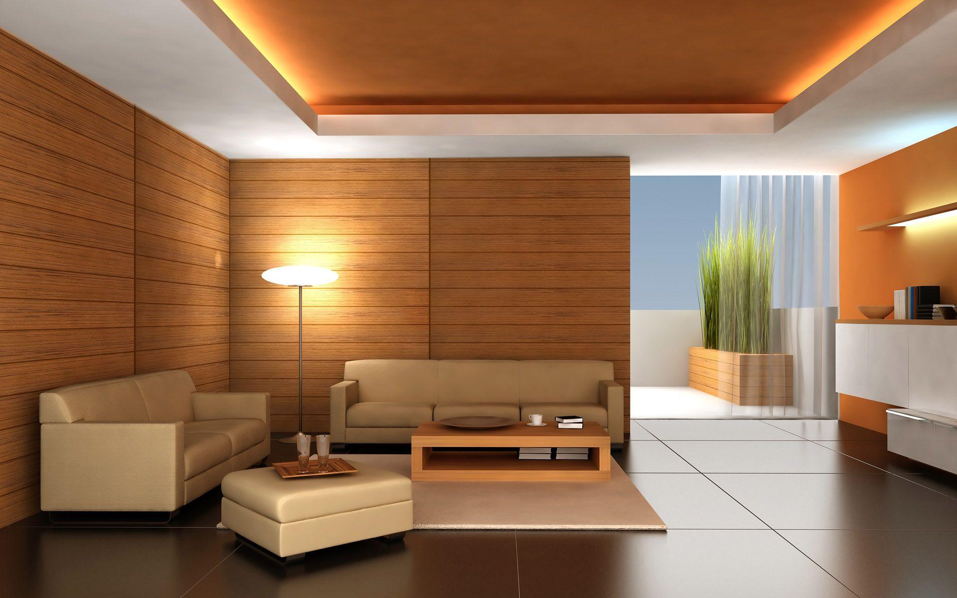 Бело-коричневый двухуровневый потолок из гипсокартона с подсветкой в гостиной