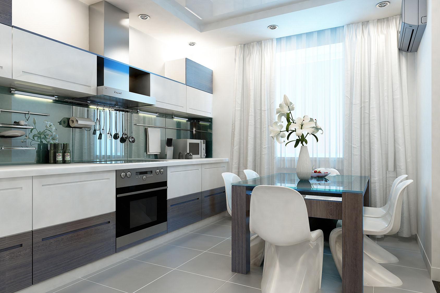 Бело-серая современная кухня