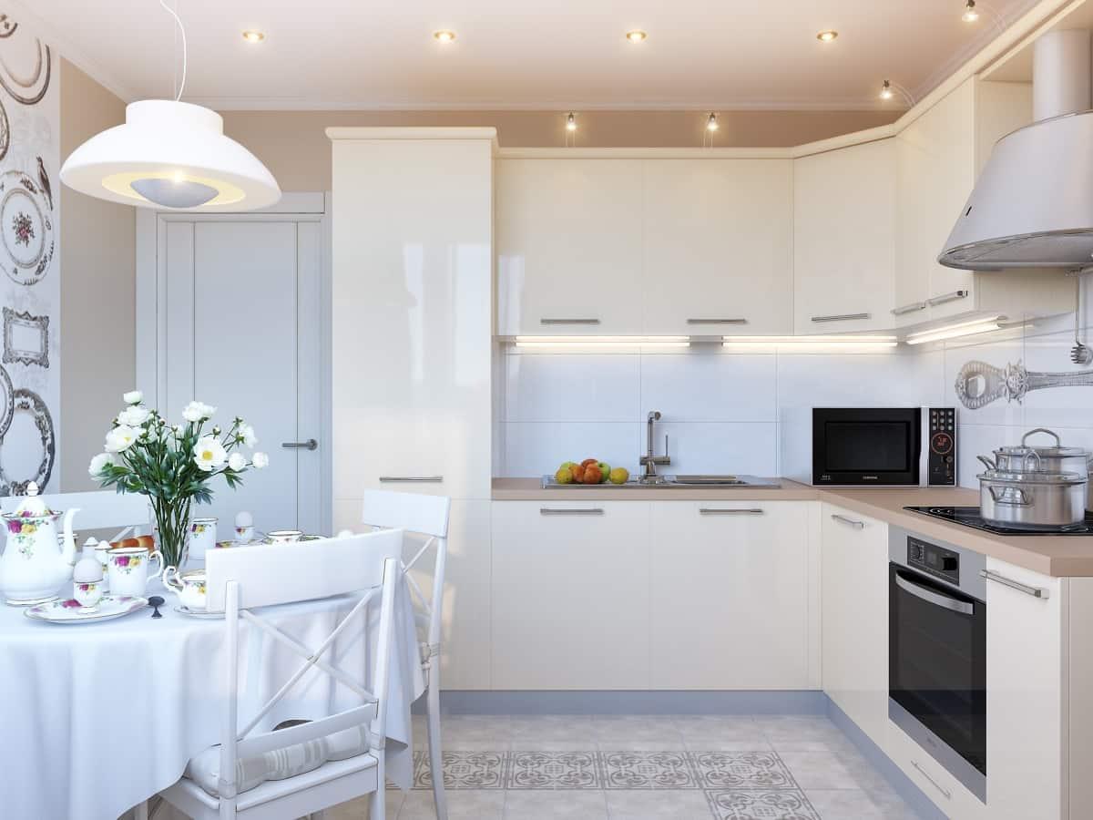 Бежево-белая кухня