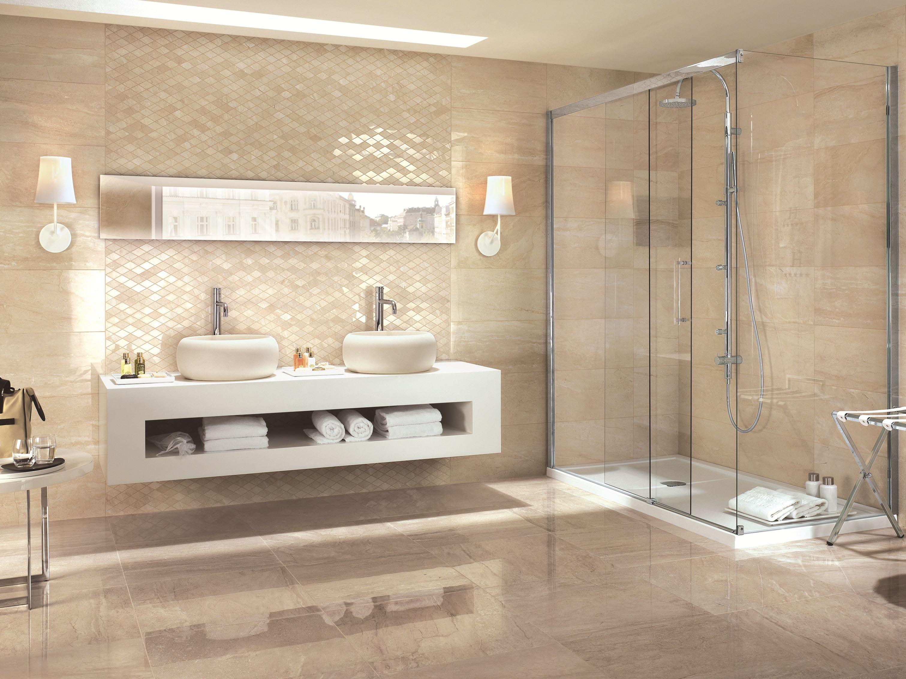 Бежевая ванная комната интерьер