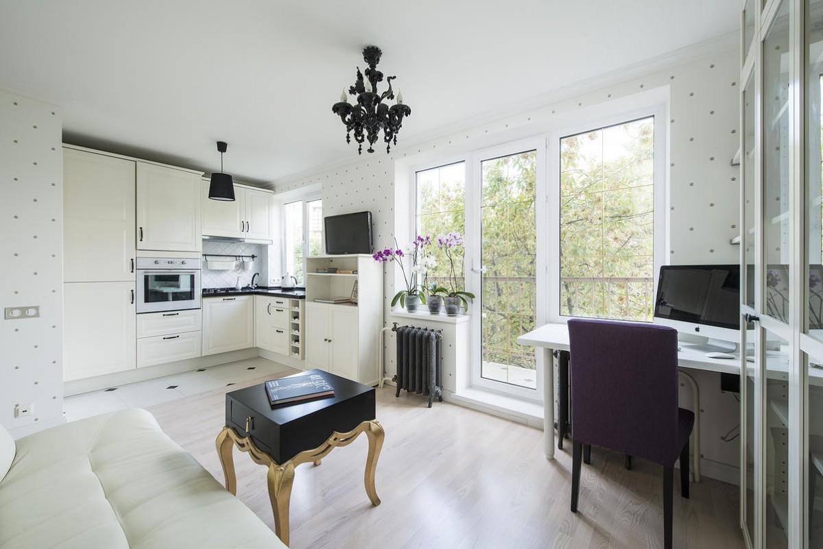 Кухня-гостиная с рабочим местом в квартире