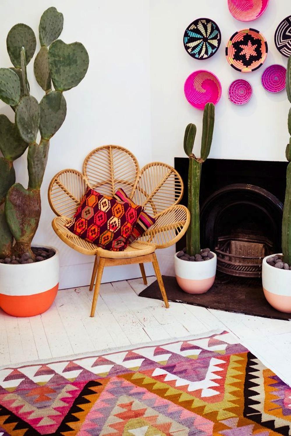 Кактусы в интерьере гостиной с камином