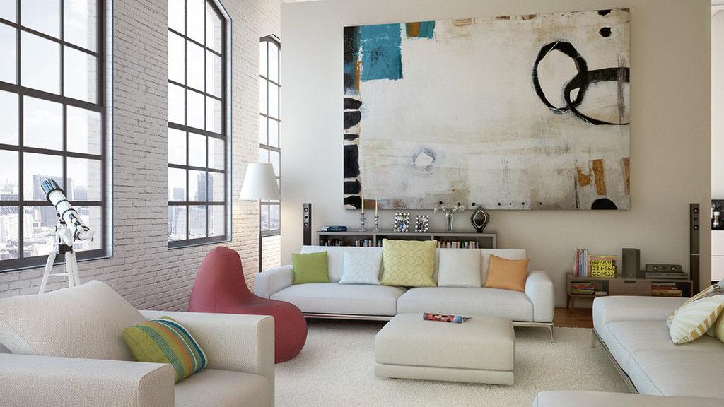 Необычная абстракция в интерьере гостиной по фен-шуй