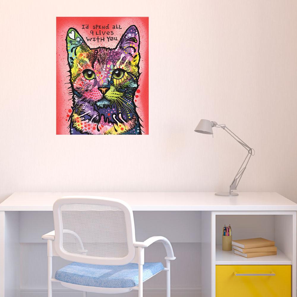 Картина с кошкой в детской комнате