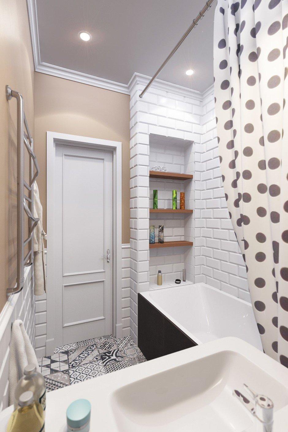 Ванная без унитаза с плиткой под кирпич