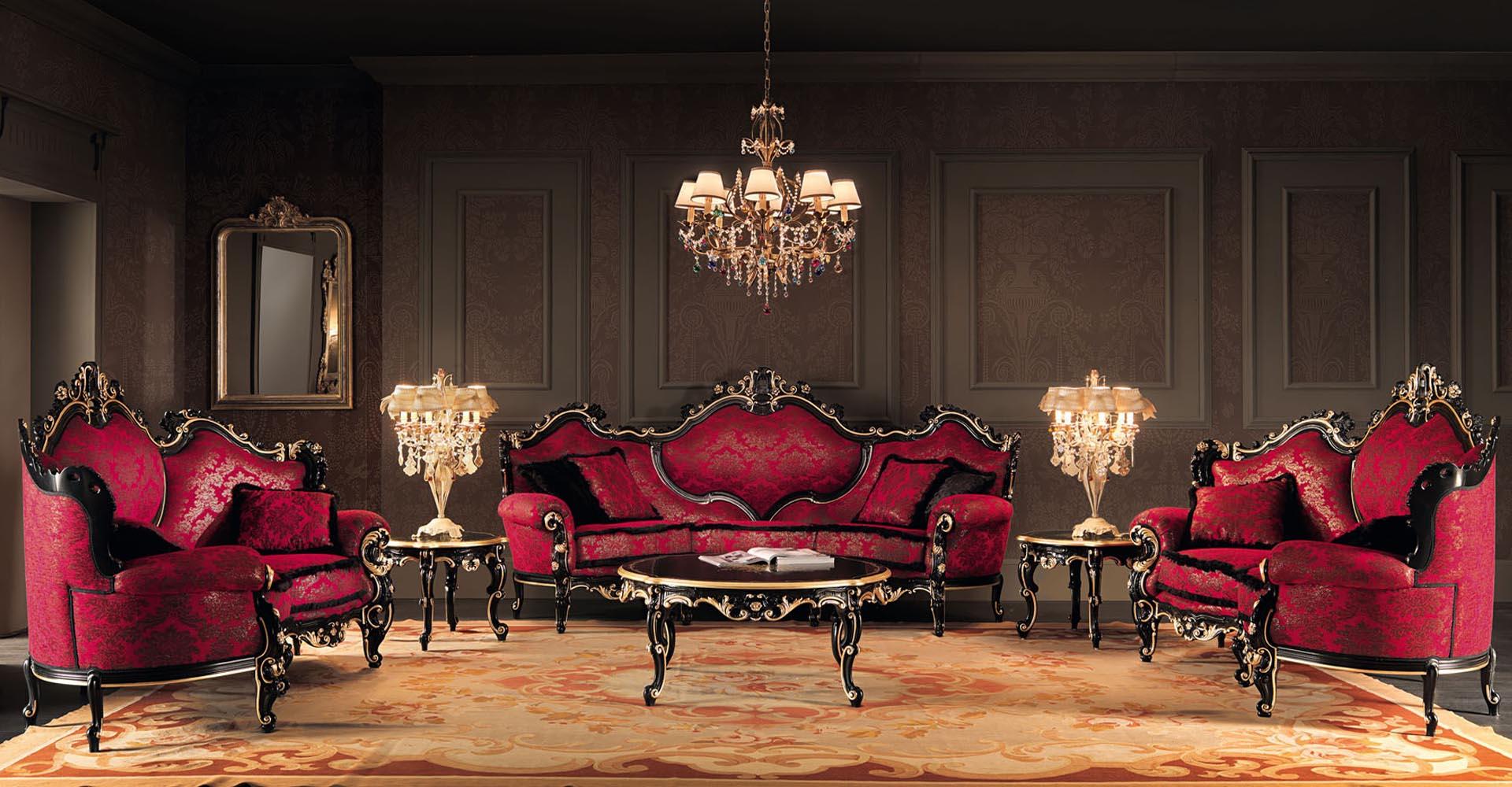 Черно-красные классические диваны в гостиной