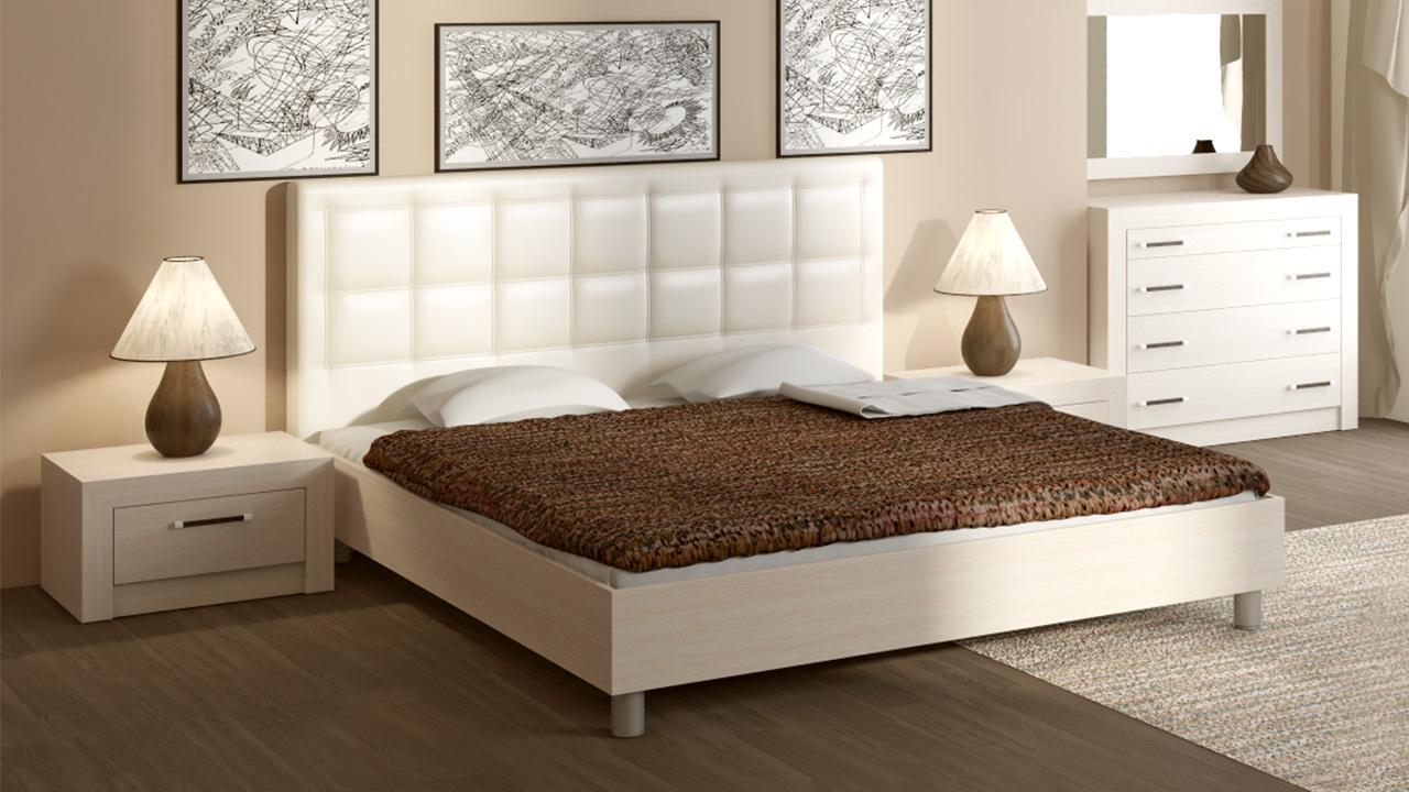 Кремовая кровать с мягким изголовьем