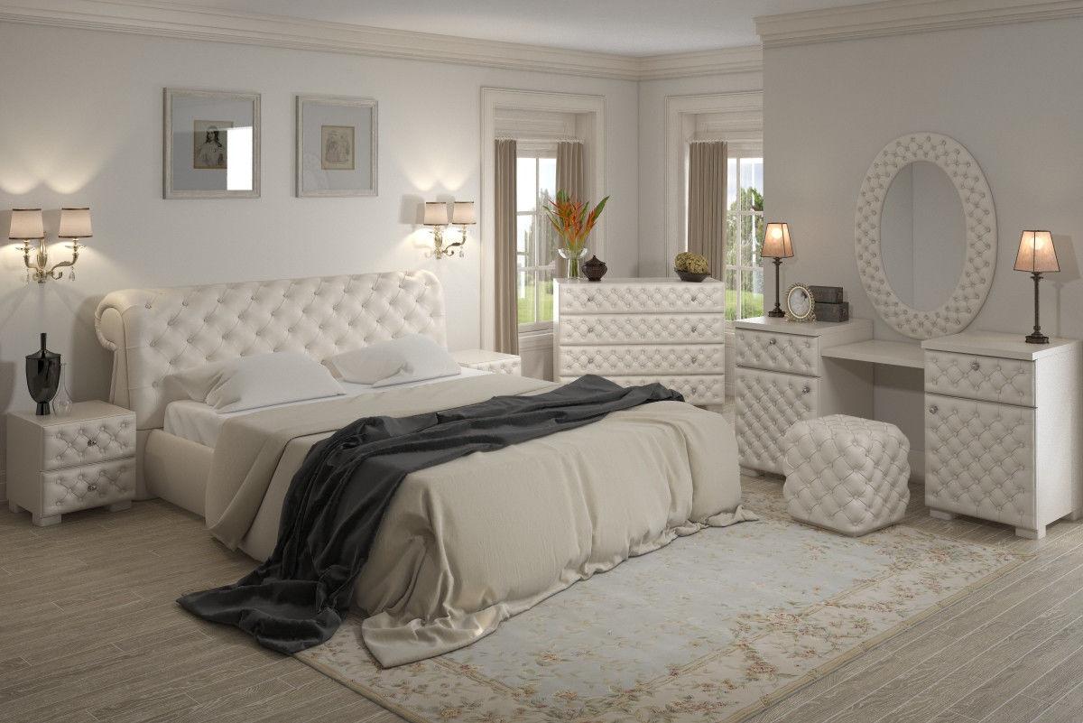 Комплект мебели с мягкой обивкой и кроватью с мягким изголовьем
