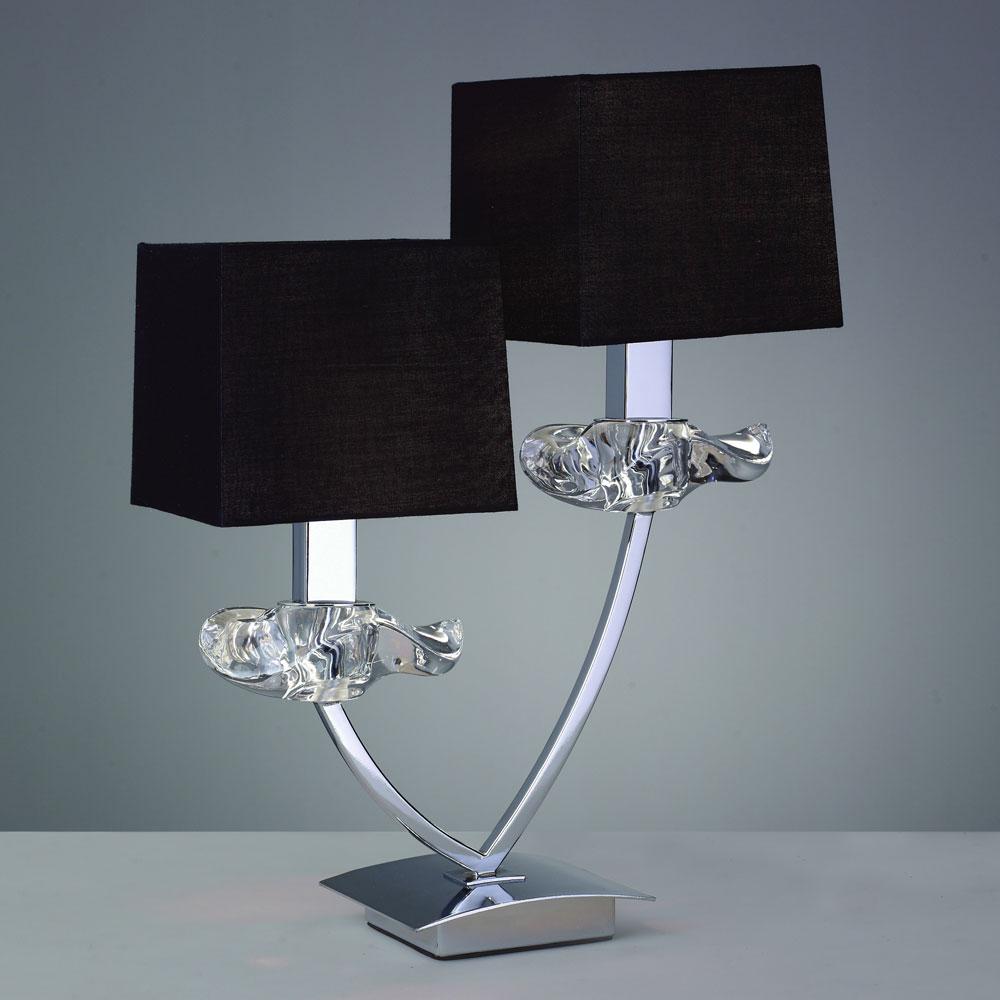 Двойная настольная лампа с черными абажурами