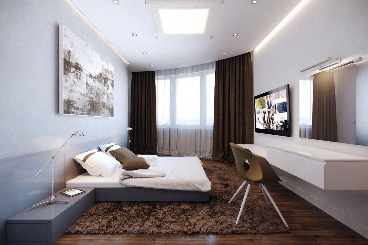 Льняные коричневые шторы в спальне