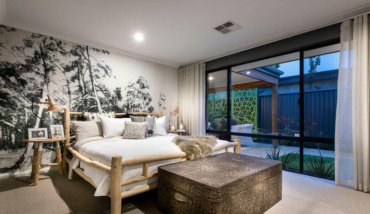 Льняные шторы в спальне в скандинавском стиле