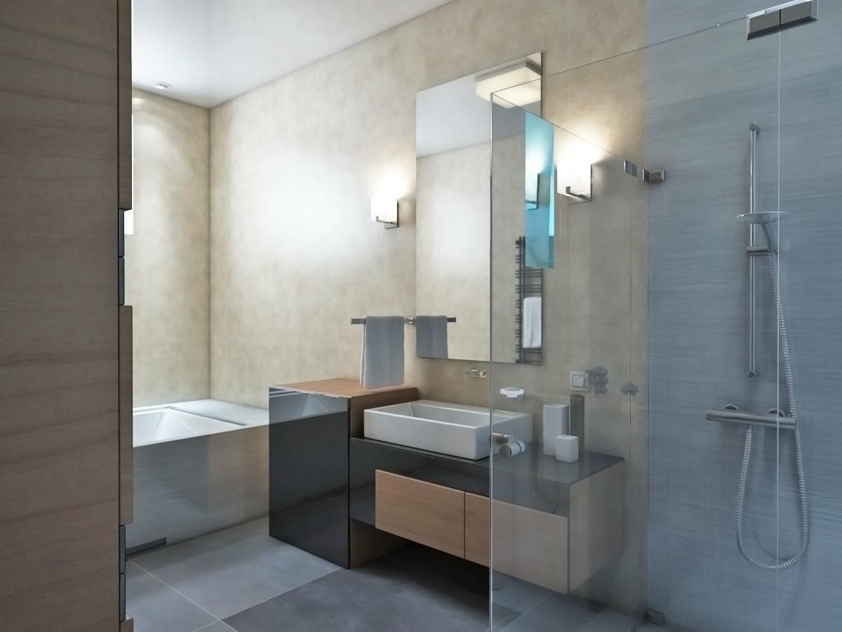 Люстра и бра в стиле хай-тек в ванной