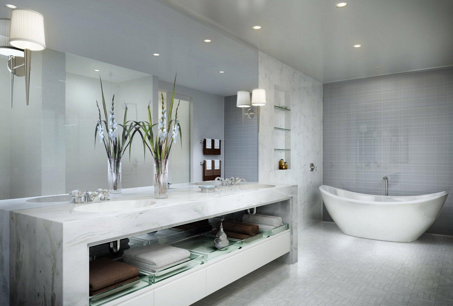 Точечные светильники и бра в стиле арт-деко в ванной