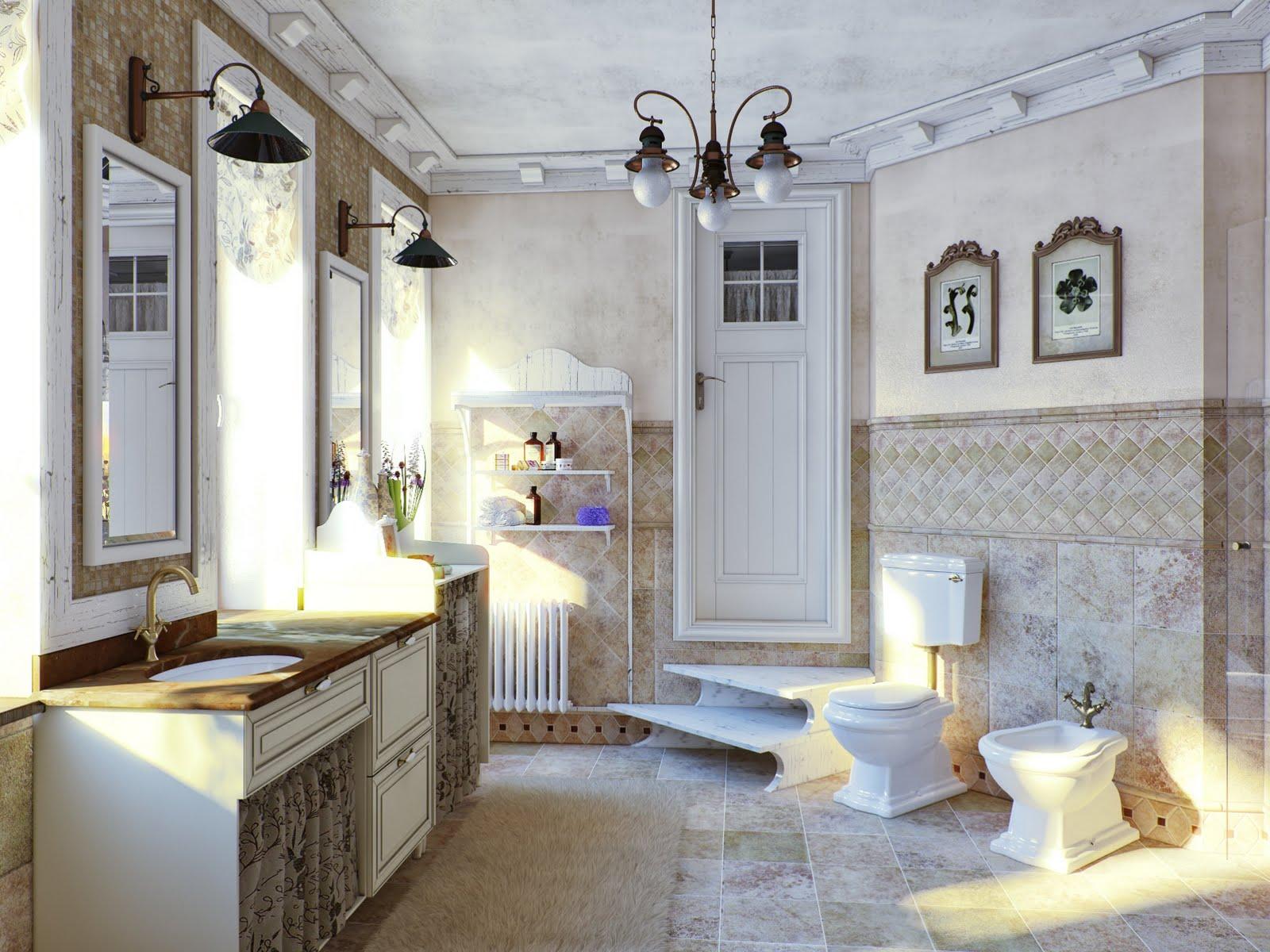 Металлическая люстра и бра в стиле прованс в ванной