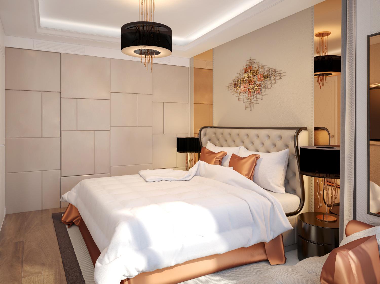 Круглая люстра в спальню модерн