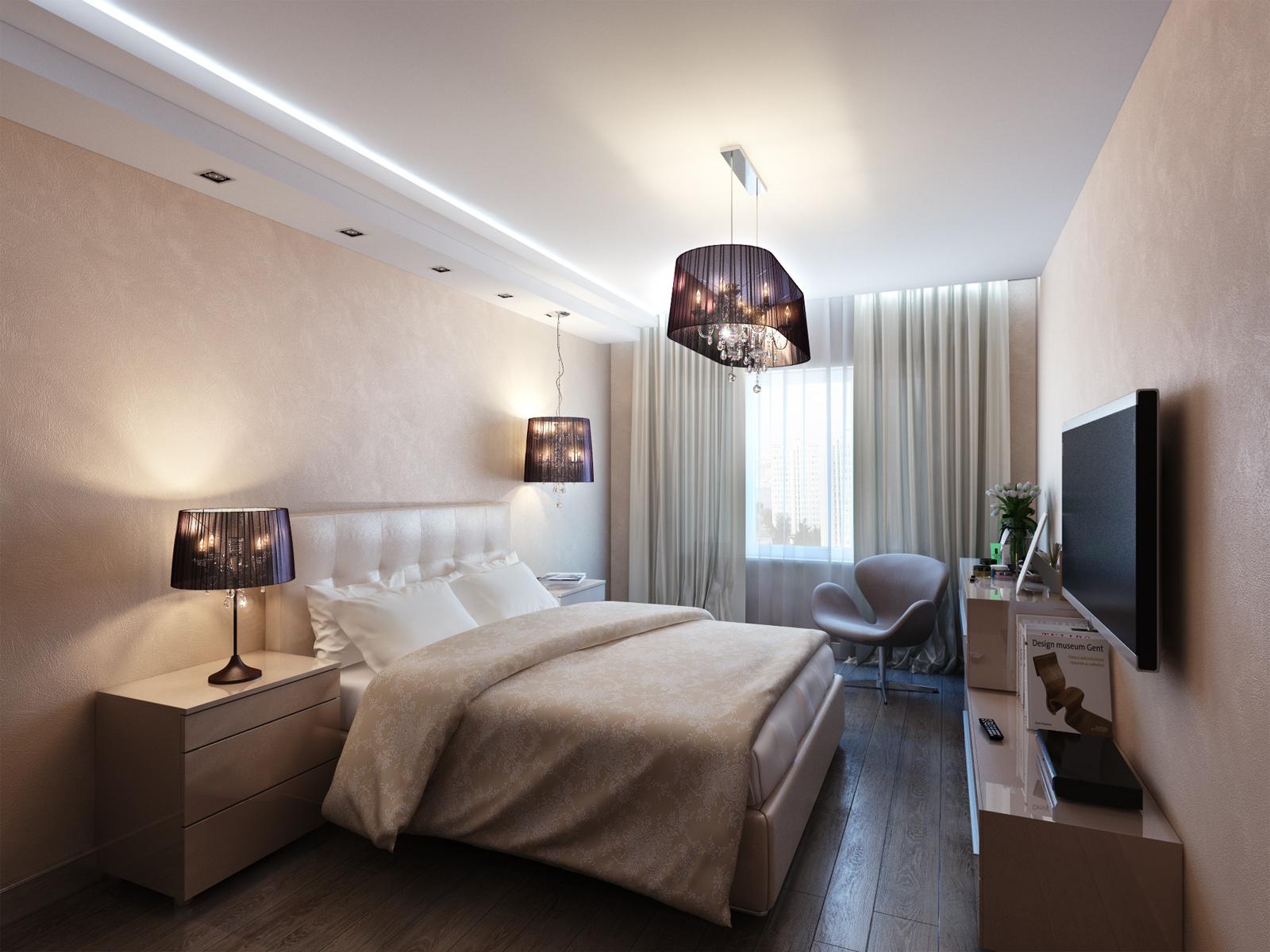 Красивые люстры в спальне с натяжным потолком