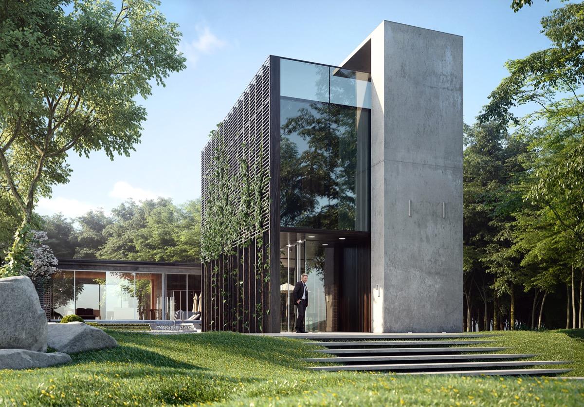 Минималистичный дом в стиле хай тек