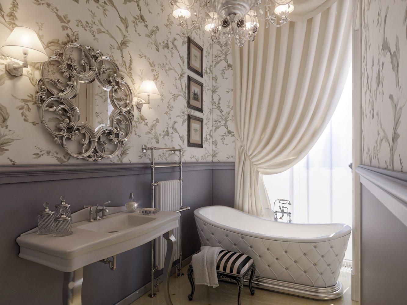Серо-белые обои в ванной в стиле прованс