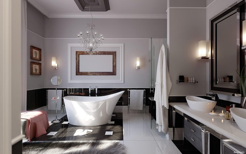 Серые обои в интерьере ванной в стиле арт-деко