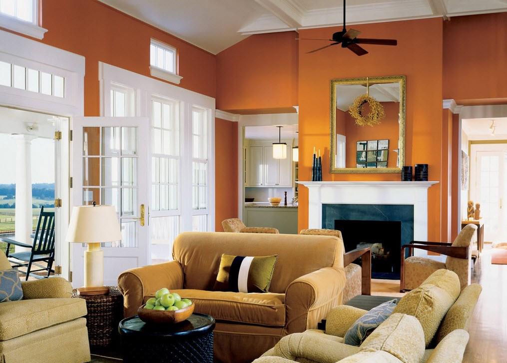 Оранжевый и бежевый цвета в интерьере гостиной