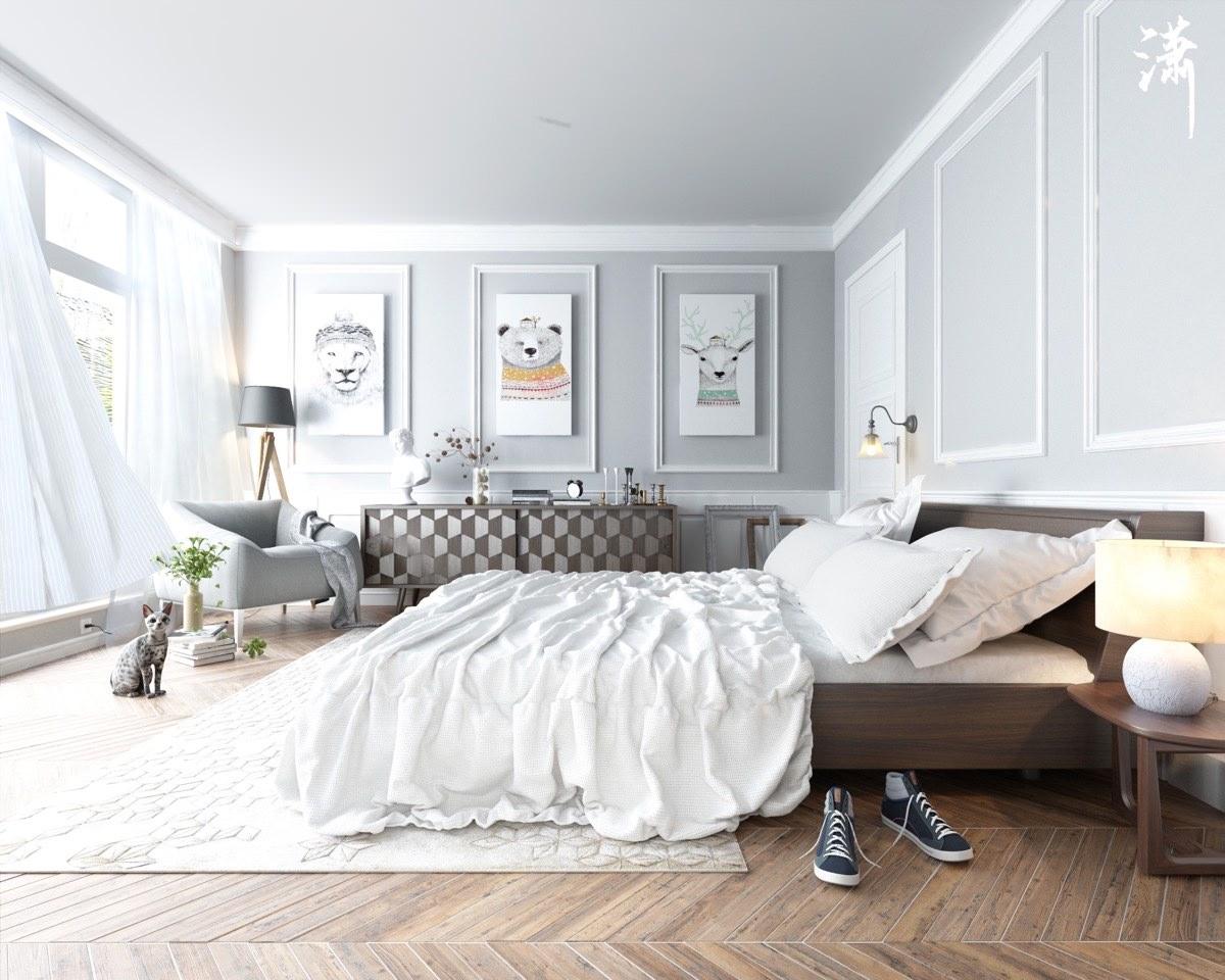 Серый, коричневый и белый цвета в интерьере спальни