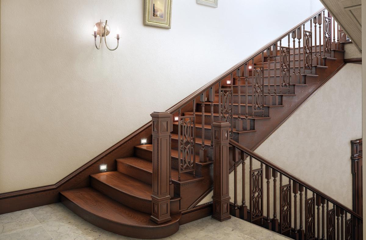 Современные деревянные перила для лестницы
