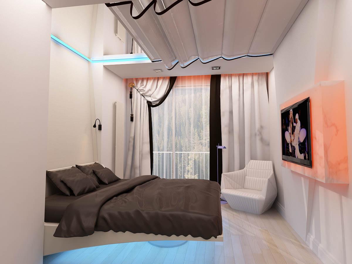 Подвесная белая кровать с подсветкой