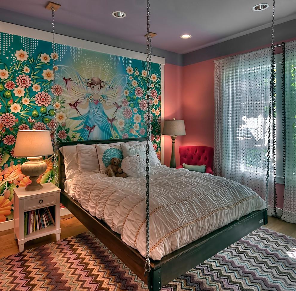 Подвесная серая кровать в детской комнате