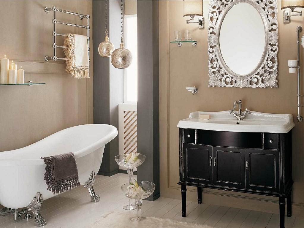 Коричневые крашеные стены в ванной