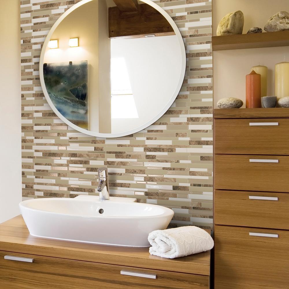 Бежевая ванная комната с прямоугольной мозаикой